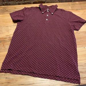 Red Fleece Printed Button Down Collar Polo